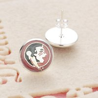 Wholesale Pendant Earings - 10Pairs Sports Team NCAA Florida State Charms Glass Earings 3Style Jewelry Stud Pendant Earrings