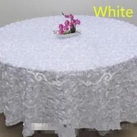 3d masa örtüsü toptan satış-Allık Pembe 3D Gül Çiçekler Masa Örtüsü Düğün Parti Süslemeleri için Kek Masa Örtüsü Yuvarlak / Dikdörtgen Masa Dekor Koşucu Etekler Halı Ucuz