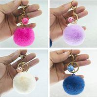 Wholesale face keychain - 100pcs lot DHL Free Shipping 5CM Wholesale 29Colors Smile Face Rabbit Fur ball Plush Key Chains Car Keychain Bag Pendant Fashion Accessories