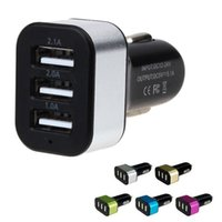 Wholesale Usb Triple Socket Car - Wholesale- Triple Universal USB Car Charger 3 Port Car-charger Adapter Socket 2A 2.1A 1A Car Styling USB Charger For Car-Styling charger