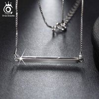 Wholesale Genuine 925 Silver Pendants - 925 Sterling Silver Bar Pendant Necklaces for Men Women 2016 Genuine Sliver Jewelry Lover's Gift SN09