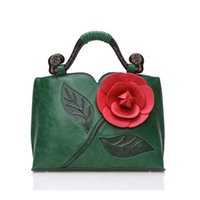 Wholesale Chinese Color Bags - 2017 new Classic retro rose three-dimensional large flower bag hit color new wood carved handbags shoulder bags Messenger