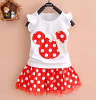 Wholesale Cheap European Clothes - Cheap Two Piece T-shit Top Tutu Girls Dresses 2017 New Lovely Dot Printed Little Girls Dresses Free Shipping Baby Girls Clothing Set MC0632