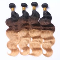 Wholesale strawberry blonde for sale - Group buy Dark Root Ombre Brown Strawberry Blonde Three Tone Colored Hair b Color Blonde Human Hair Weft Bundles Ombre Hair Weaves