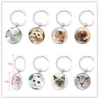 Wholesale Cabochon Glass Color - New 10pcs Creative Silver Color Key Chain Cute Cat Keychain Jewelry Art Glass Cabochon Pendant Keyring Key Ring for Women Lover Gifts