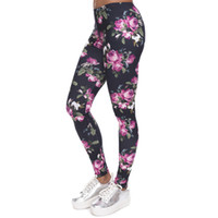 Wholesale Graphic Stars - Sport Fans Sex Color Full Retro Roses Graphic Pants Flower Star Print Capris Elastic Gym Leggings Free Size Slim Fit Trousers PWDK21-01 WR