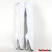 Wholesale Dancing Ballet Boots - Wholesale- New personality fashion sexy thin high-heeled Unisex slim thigh boots over the knee dance boots sexy high heel ballet boots