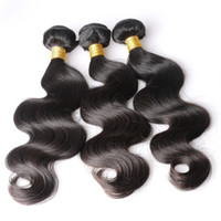 Wholesale Thick Remy Extensions - Brazilian Body Wave Human Remy Hair Weaves Natural Black Color Double Wefts 3pcs lot Can Be dyed Thick Hair Extensions