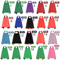 Wholesale newest movies - Newest 20 Designs Double Side Superhero Cape 70*70cm Cartoon Cape with Mask for Kids Christmas Halloween Cosplay Capes Prop Costumes B4