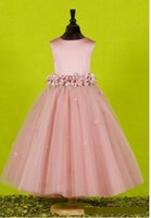 ingrosso bella abito formale estivo-Custom Made Beautiful Pink Flower Girls Dresses for Weddings 2017 Pretty Formal Girls backless bow Raso Puffy Tulle Pageant Dress summer