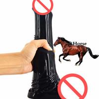 конный анальный зад оптовых-Новый Дикий Большой Пони Силиконовая Лошадь Фаллоимитатор Животных Анальный Плагин Gode Butt Секс-Игрушки для Взрослых Мастурбируют Пары