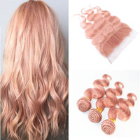 Wholesale pure gold 24 - Peruvian Rose Gold Body Wave Hair Weaves With Lace Frontal Closure Pink Virgin Human Hair Bundles With 13x4 Ear to Ear Full Frontals