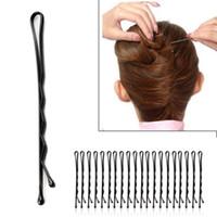 pasador de pelo negro al por mayor-60 unids Moda Negro de la Mujer Bobby Pins Invisible Wave Hair Grips Salon Barrette Horquilla Clips de pelo de las señoras Barrette