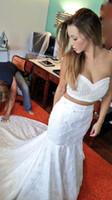 ingrosso merletto di disegno di cerimonia nuziale due pezzo-Unico design Due pezzi di abiti da sposa sirena 2017 pizzo vintage perle abiti da sposa vestido de noiva corte ferroviaria