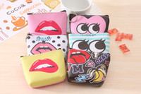 Wholesale lips purse - PU Leather Small Organizer Modern Girl Coin Purse Lips Printed Wallet Waterproof Holder Mini Coin Purse 10*8cm