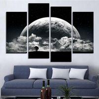 ingrosso scenario bianco nero-Black White Moon Abstract Scenery Pittura 4 pezzi HD stampa pittura moderna casa di moda decorazione di arte della parete
