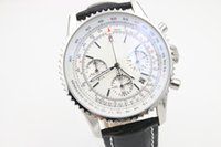 Wholesale Stainless Crocodile - 2017 top luxury brand bre MONTBRILLANT series white multi-time zone dial black crocodile leather strap AAA quartz chronograph 1887 watches
