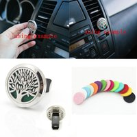 Wholesale Paper Car Freshener - Tree of Life 316L Stainless Steel Car Air Freshener Aromatherapy Essential Oil Diffuser Locket Vent Clip with Refill Pads