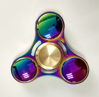 Wholesale Toy Hand Make - 2017 Best titanium alloy Fidget Spinner Metal EDC Tri Hand Spinner Finger Spin Made Focus Toy Rotate for 5 Minutes Spinning Stress Toy