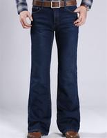 Wholesale Mens Fleece Jeans - Wholesale-Mens Plus thick velvet Black Blue Jeans Plus Size 26 to 34 Big Denim Jean Flare Bell Bottom Flare Pants Trousers For Men