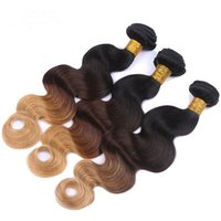 Wholesale Colorful Hair Ombre - hair extension 7A Ombre 3 tone Peruvian body wave human hair extensions 3pcs lot 100g bundle Beauty Colorful Peruvian hair ombre weave
