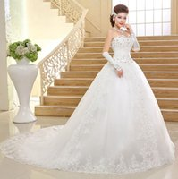 Wholesale Korean Gown For Wedding - New Bridal Dresses Wedding Dress Korean Style Long Trailing Lace Wedding Dress Can Be Customized For Pregnant Women F