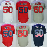 Wholesale Navy Cool - Mens 50 Mookie Betts Home Away Alternate white red grey navy Cool base Flex Base Baseball Jerseys all stitched