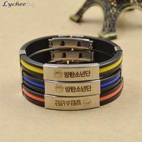 Wholesale Cuff Friendship Bracelets - Wholesale-Trendy KPOP Fans Sport Silicone Friendship Wristband Titanium Steel Cuff Bracelet