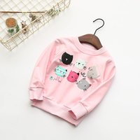 Wholesale Girl Hoodie Cat - New Arrival Brand 3 colors Children's six Cats Animal Hoodies Kids Girls Winter Spring Clothes Sweatshirt