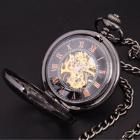 Atacado - Steampunk Skeleton Dial Black Case Masculino Relogio De Bolso Retro Roman Numerals Relógio de Corrente Men Mechanical Hand Wind Pocket Watch
