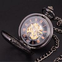 Wholesale Retro Steampunk Watch - Wholesale-Steampunk Skeleton Dial Black Case Male Relogio De Bolso Retro Roman Numerals Chain Clock Men Mechanical Hand Wind Pocket Watch