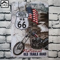 Wholesale ROUTE US66 Motocycle x30cm Metal Tin Sign Vintage Plaque Decor Plate Garage Gallery Poster Coffee Club Bar Pub Wall Decor