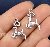 Wholesale Bronze Giraffe - 120pcs-Antique Silver Bronze 2 Sided Tiny Deer Lion Cat Fox Giraffe Charms Pendants Connector Lovely DIY Jewelry Making