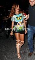 ingrosso stivali alti di colore nudo-Stivali coscia in pelle verniciata color oro nudo Sandali gladiatore lunghi stile Rihanna Ritagli Tacchi alti Stivali sopra il ginocchio Donna