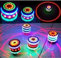 Wholesale Classic Retro Music LED Gyro Flash Light Peg Top Spinner Laser Kids Toy Gifts Whirling Kids UFO DHL Free