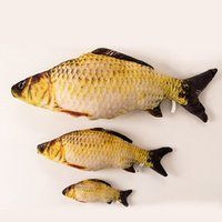 Wholesale Fishing Grass Carp - Simulation Plush Toy Cat Mint Lifelike Fish Grass Carp Saury Creative Pillow For Cats Gnaw Bright Colors Personality Hot Sale 15 8ca I1