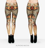 Wholesale Fashion Russian Style - Russian style Fire flame Printing Leggings Punk Women Legging Stretchy Trousers Casual Pants Womens Leggings