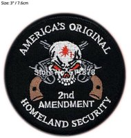 Wholesale Embroidered Iron Applique - HOMELAND SECURITY 2ND AMENDMENT SKULL PISTOL NRA GUN Movie TV Series Embroidered iron on patch cosplay transfer COMICS APPLIQUE