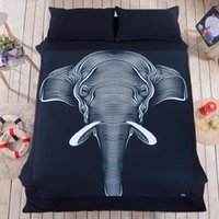 3D Printed black full beds - Elephant Bedding Set Bedclothes Set Fashion Bedding Home Textiles pillowcase linen bedclothes Comforter Cover