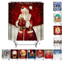 Wholesale Hook Free Shower Curtain - High Quality Shower Curtain Christmas Fabric Waterproof Bathroom Santa Decor for Home New Year Hooks Free Shipping