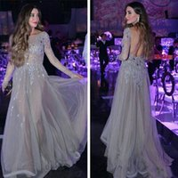 Wholesale Semi Transparent Dresses - Semi-Transparent Sexy Backless Evening Dresses with Long Sleeve A Line Applique Sequins Sweep Train Evening Gowns