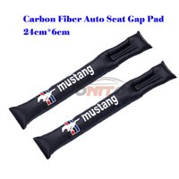 Wholesale Mustang Auto Accessories - 2Pcs Auto Accessories Carbon Fiber seat gaps plug For Mustang logo Seat Gaps Plug Crevice Inserts Protective Padding All Series