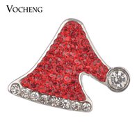 Wholesale Red Hat Charms - Noosa 18mm Crystal Snap Charms Fashion Christmas Hat 3 Colors Ginger Snap Jewelry Vocheng Vn-702