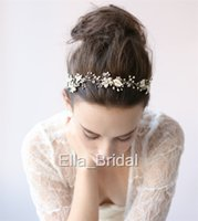Wholesale Elegant Tie Back - Elegant Gold Silver Floral Hairbands Hot Pearl Crystal Hand Beaded Wedding Bridal Hair Accessories Headwear Headbands with Ribbon Tie Backs