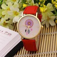 Wholesale Dreamcatcher Dress - Dreamcatcher Women Quartz Watches 2017 New Arrival Leather Strap Wristwatch Dress Watch Clock Wholesale