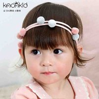 Wholesale Hair Color Ball - Boutique Children Headbands Hair Accessories Cute Girl Princess Hairbands Baby Girls Birthday bowknot Plush Ball Hair Bands A6220