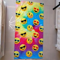 Wholesale Bath Textiles - Emoji Bath Towel Children Cotton Carton BathTowel Soft Beach Swimming Kids Favors Towels Party Favor for Kids Smiling Face Home Textiles