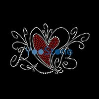 Для продажи Good Swirl Heart Rhinestone Transfer Iron On Hot Fix Motif для женских футболок