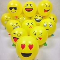 globos de latex amarillo al por mayor-Globo de Expresión de Emoji de 12 Pulgadas Globo de Goma de Goma de Látex Cara Sonriente Fiesta de Expresión de Globo Amarillo Decoración de Festival Juguetes Para Niños
