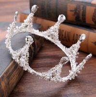 Wholesale Decorate Tiaras - Baroque Bridal Crown Tiara Handmade CZ Rhinestone Crystal Decorated Wedding Hair Accessories Hair Jewelry Bridal Hair Accessories